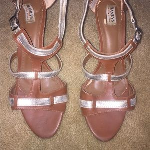 Brown and gold sandals. Size 8.5